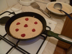 Sweet pancakes in the pan